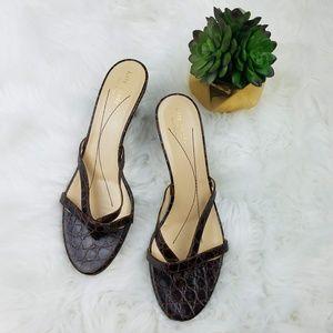 KATE SPADE Brown Leather Kitten Heel Sandals